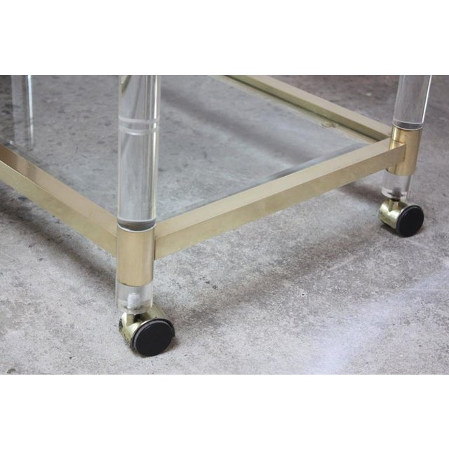 Charles Hollis Jones Lucite Faux-Bamboo and Brass Serving Cart - Image 6 of 11