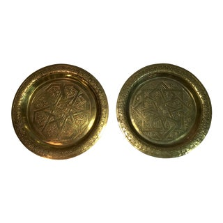Vintage Handcrafted Brass Wall Plates - A Pair