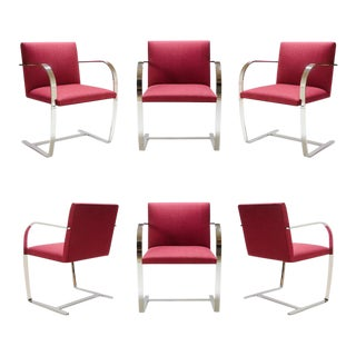 Mies Van Der Rohe for Knoll Brno Flat-Bar Chairs in Merlot Herringbone Wool, S/6