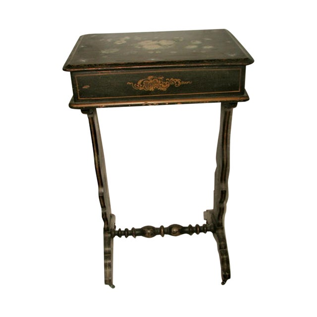 18th c hand painted sewing table chest chairish for Table th width ignored