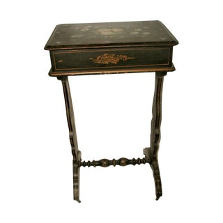 18th C. Hand Painted Sewing Table Chest