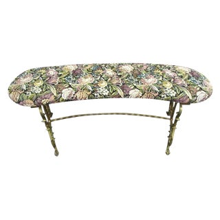 Small Decorative Iron and Floral Upholstered Vanity Bench