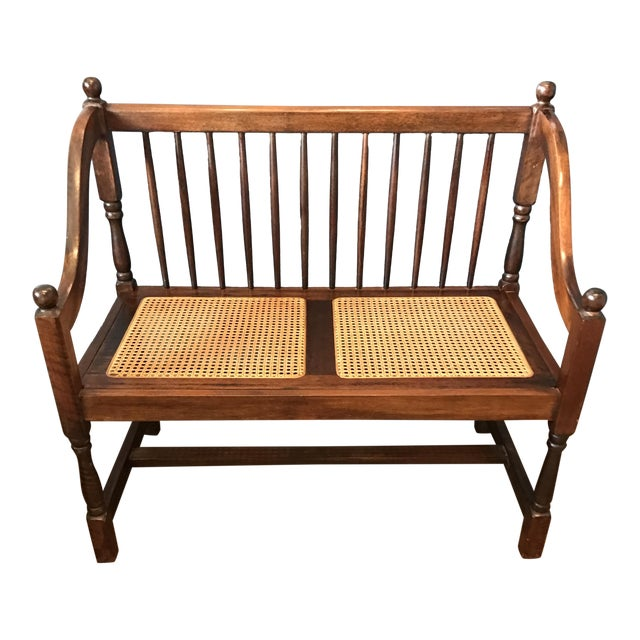 Traditional Wood & Cane Bench - Image 1 of 5
