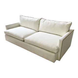 Italian Camel Leather Piped Sofa