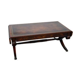Vintage Weiman Flame Mahogany & Leather X Base Dropleaf Coffee Table