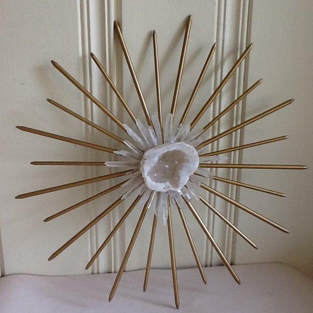 image of brass raw crystal geode starburst wall decor - Starburst Wall Decor