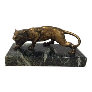 Bronze Tiger Sculpture on Marble Base
