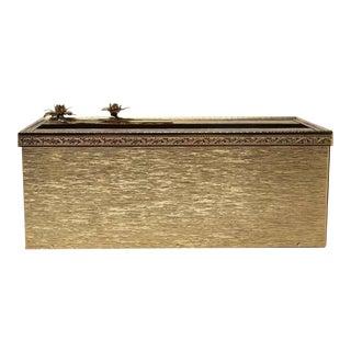 Vintage Brass Floral Rectangular Tissue Box