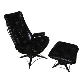 Homecrest Mid-Century Lounge Arm Chair & Ottoman
