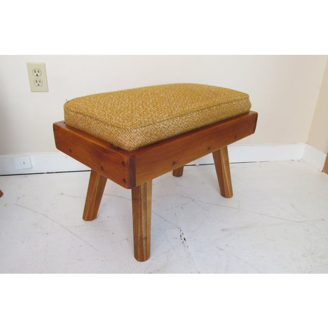 Rustic Modern Ochre Lounge Chair & Ottoman - Image 7 of 7