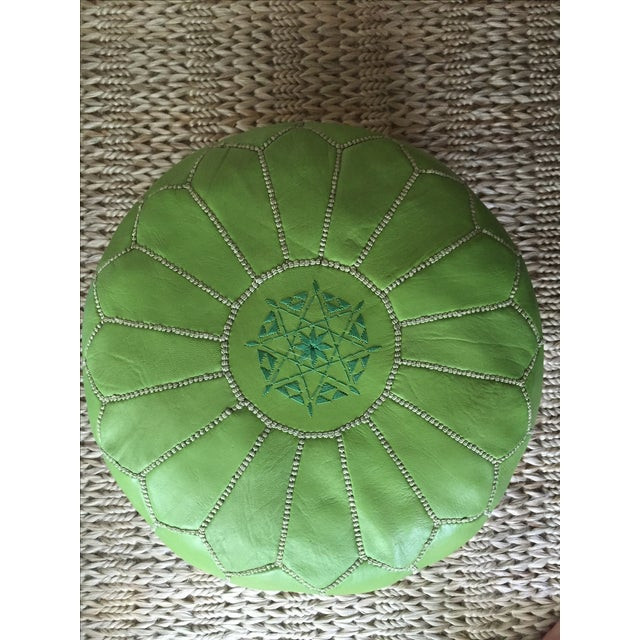 Green Moroccan Leather Pouf - Image 3 of 5