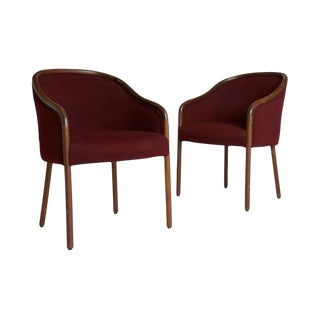 1960s Vintage Maroon Ward Bennett Style Sculptural Armchairs - a Pair
