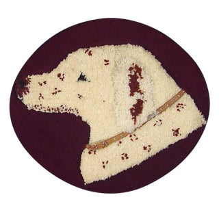 Stumpwork Textile Picture of a Dog's Head.