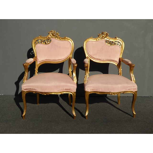 Vintage French Rococo/Louis XV Style Giltwood Accent Chairs- A Pair - Image 2 of 11