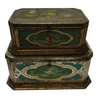Old Art Style Chocolate Tins & European - A Pair