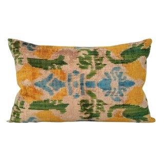 Silk Velvet Yellow Ikat Pillows - a Pair