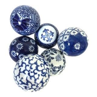 Vintage Blue & White Porcelain Balls - Set of 6