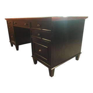 Black Arhaus Alderson Executive Desk with Oak Top