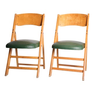 Vintage Wood Folding Chairs with Green Upholstery - A Pair
