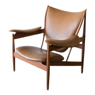 Finn Juhl Chieftain Chair by Neils Vodder in Teak and Cognac/Brown Leather, Denmark 1949