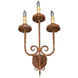 3 Hand-Forged Iron Sconces with Rust Finish