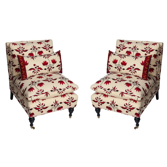 Lulu Dk Upholstered Chairs With Pillows - A Pair - Image 1 of 8