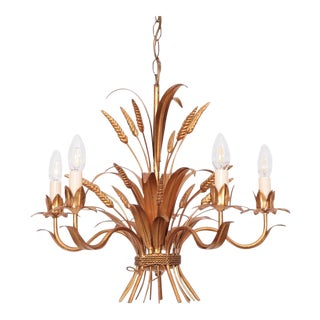 Huge Chanel Style Florentine Chandelier Brass with Gold-Finish, Italy, 1970s