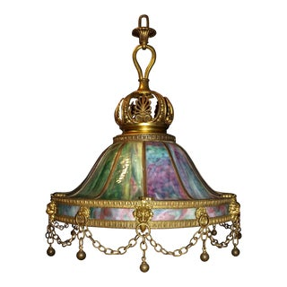 Antique Chandelier. Stained Glass Lamp