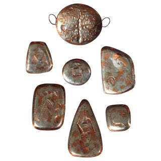 Mid-Century Copper Wall Hangings - Set of 7