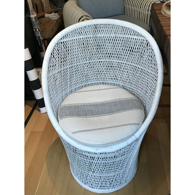 Image of Vintage White Wicker Chair