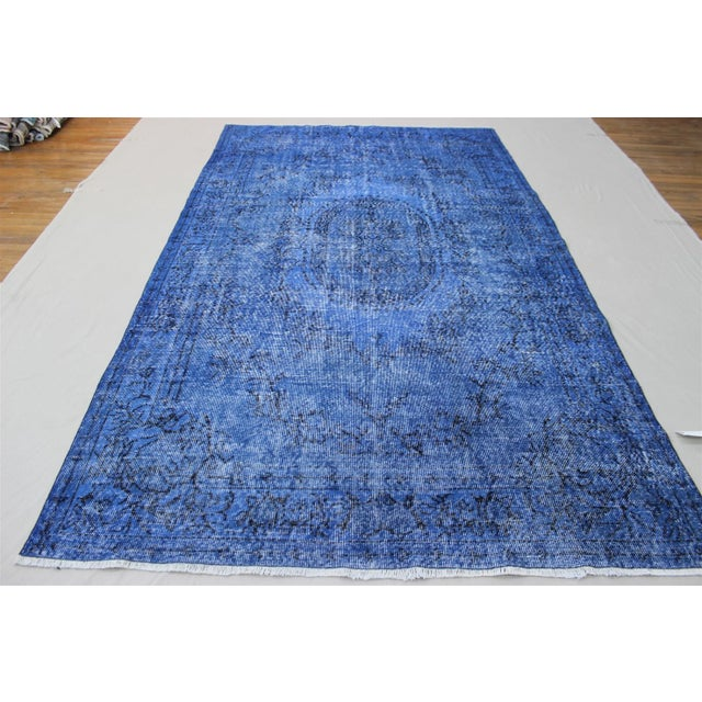 Dark Blue Turkish Over-Dyed Rug - 6′1″ × 10′4″ - Image 3 of 9