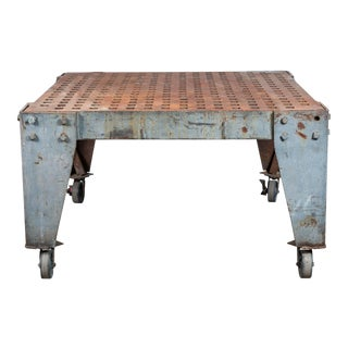 Very Cool and Substantial Cast Iron Vintage Welder's Table American Industrial