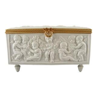 Limoges France White Bisque Dresser Box