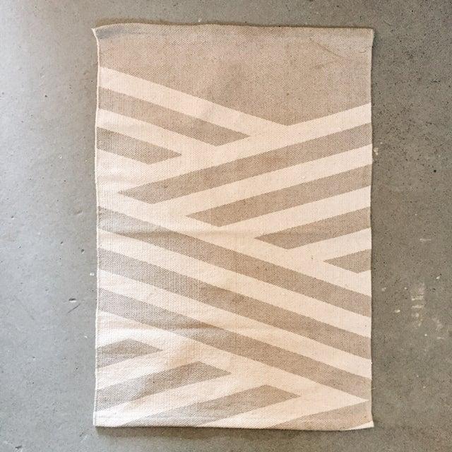 "Minimal Gray Cotton Screen Print Rug - 3'2"" x 2' - Image 3 of 5"