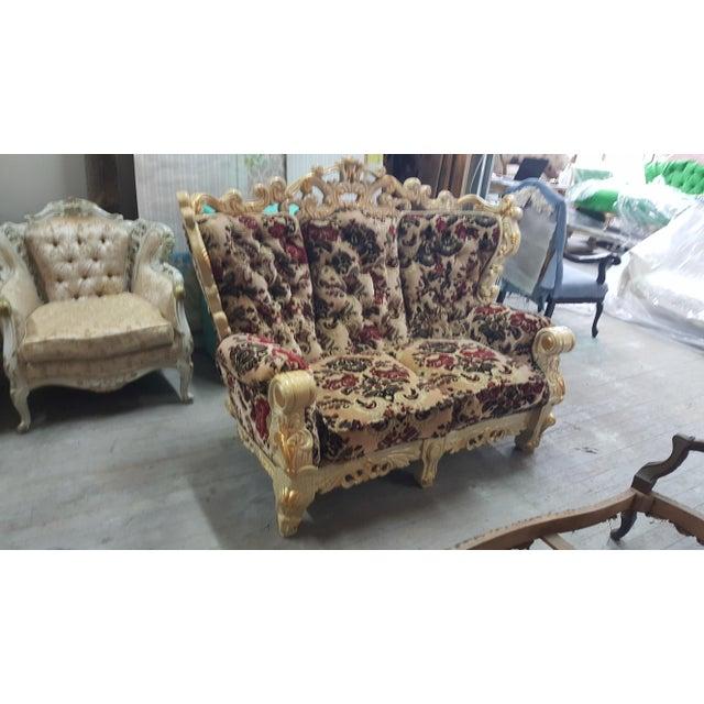 Vintage Victorian Velvet Settee - Detailed Carved Wood Frame Floral Velvet Loveseat / Large Chair - Image 4 of 4