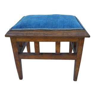 Indigo Homespun Oak Footstool
