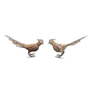 Gilded Sterling Silver Filigree & Enamel Birds - A Pair