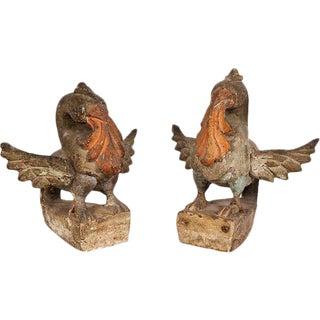 Wood & Gesso Bird Finials - A Pair