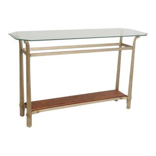 Contemporary Modern Metal & Glass Console Table with Faux Alligator Print Lower Shelf
