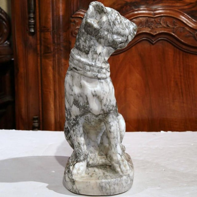 19th Century French Gray & White Marble Dog Figure - Image 5 of 10