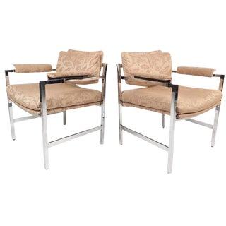 Mid-Century Modern Milo Baughman Style Armchairs - a Pair