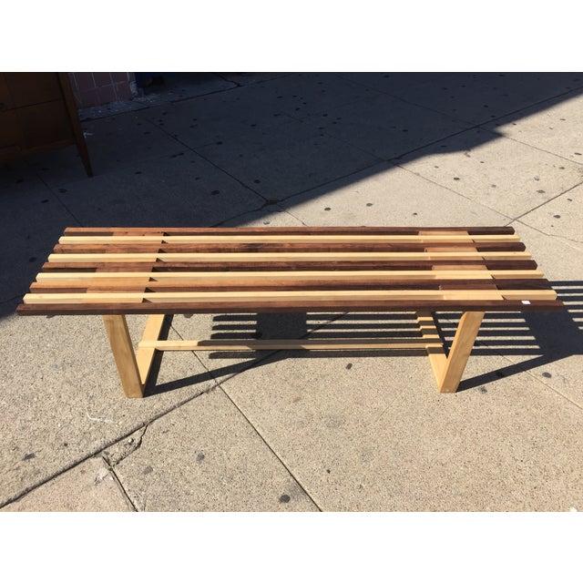 Image of Mid-Century Style Handmade Slat Bench