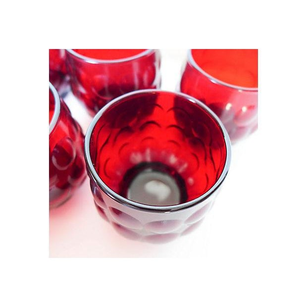 Mid-Century Ruby Red Glasses - Set of 8 - Image 7 of 8