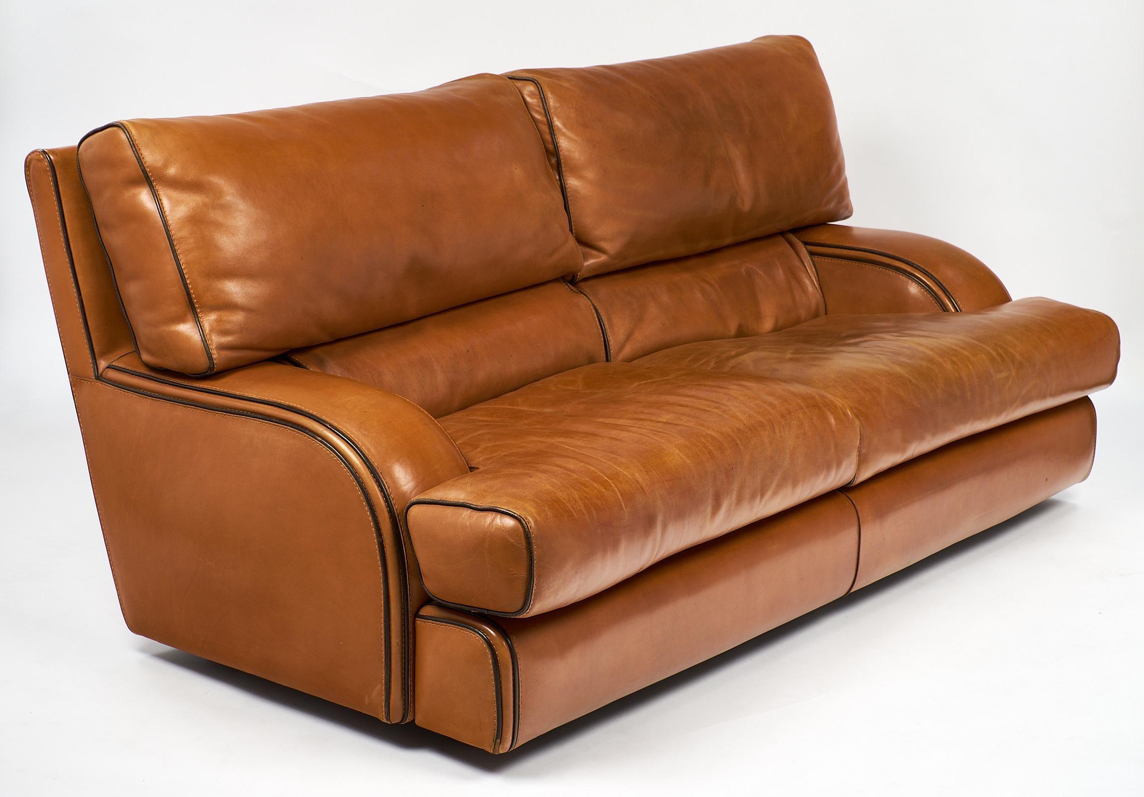 vintage baxter italian leather sofa image 3 of 10