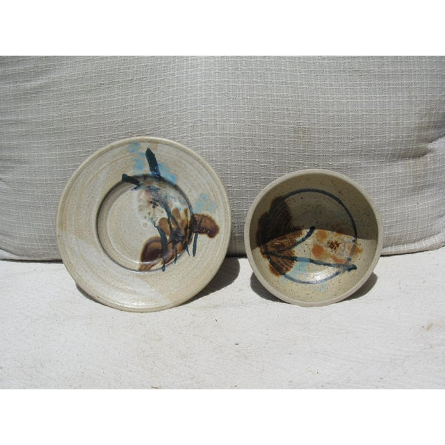 Pottery Bowl & Plate Serving Set - Image 4 of 5