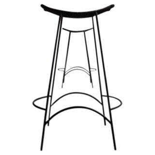 Counter Height Wicker & Iron Bar Stools - A Pair