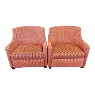 Red & Gold Corduroy Armchairs - A Pair