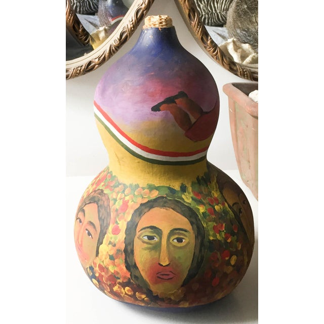 Mid Century Listed Artist Rodolfo Morales - Painted Gourd - Image 4 of 7
