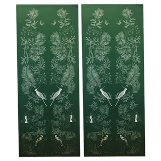 Chinoiserie Green Bird & Butterfly Printed Canvas Panels- A Pair