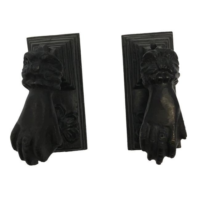 Antique French Cast Iron Door Knockers - a Pair - Image 1 of 3